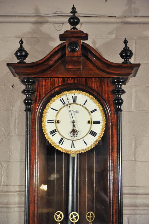 19th Century Viennese Regulator Clock With Triple Train