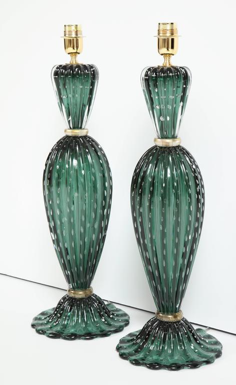 Rare Pair of Tall Italian Handblown Emerald Green Murano Glass Lamps 2