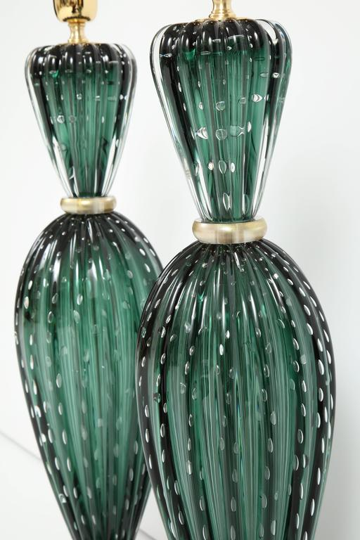 Rare Pair of Tall Italian Handblown Emerald Green Murano Glass Lamps 3