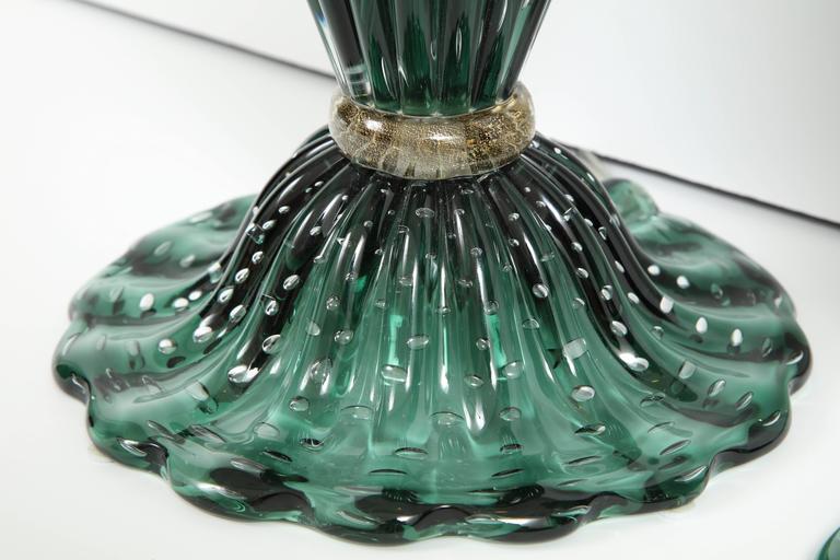 Rare Pair of Tall Italian Handblown Emerald Green Murano Glass Lamps 6