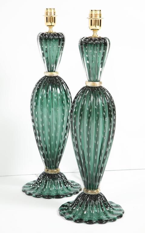 Rare Pair of Tall Italian Handblown Emerald Green Murano Glass Lamps 8