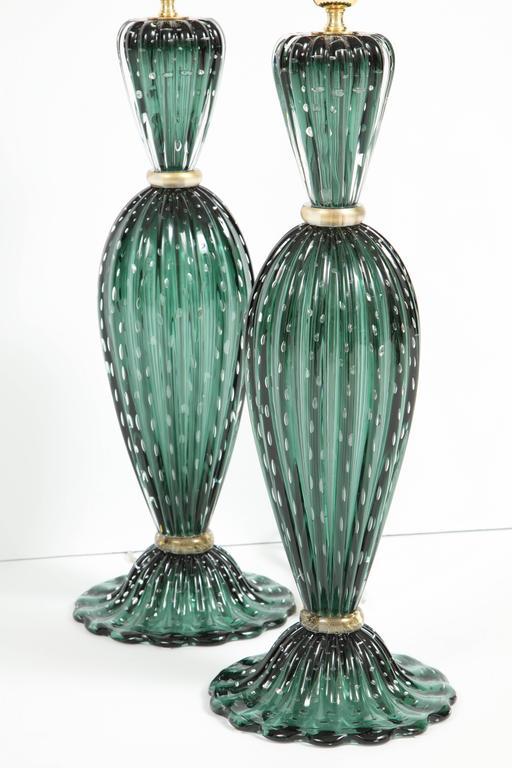 Rare Pair of Tall Italian Handblown Emerald Green Murano Glass Lamps 9