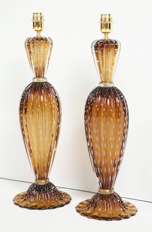 "Pair of Tall Italian Handblown Murano ""Pulegoso"" Bronze and Gold Lamps, Signed 2"