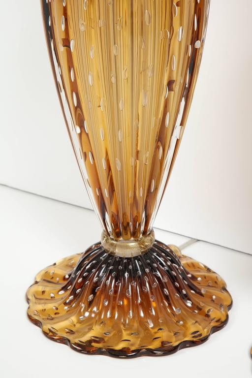 "Pair of Tall Italian Handblown Murano ""Pulegoso"" Bronze and Gold Lamps, Signed 4"