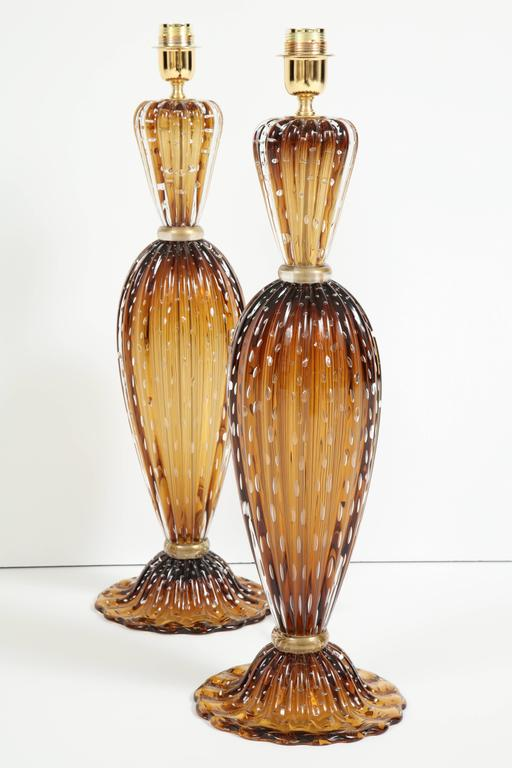 "Pair of Tall Italian Handblown Murano ""Pulegoso"" Bronze and Gold Lamps, Signed 10"