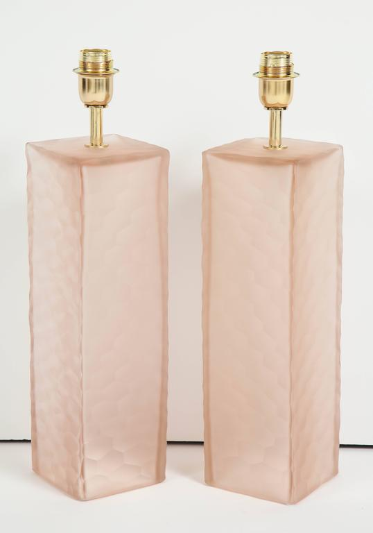 Pair of Italian Blush Pink Solid Murano Glass Textured Block Lamps 2