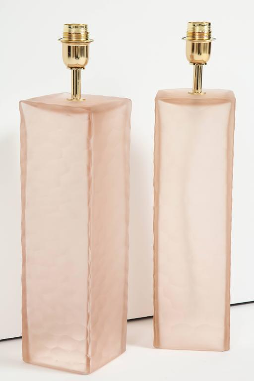 Pair of Italian Blush Pink Solid Murano Glass Textured Block Lamps 4