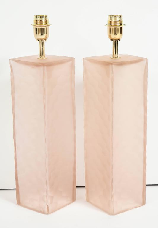 Pair of Italian Blush Pink Solid Murano Glass Textured Block Lamps 6