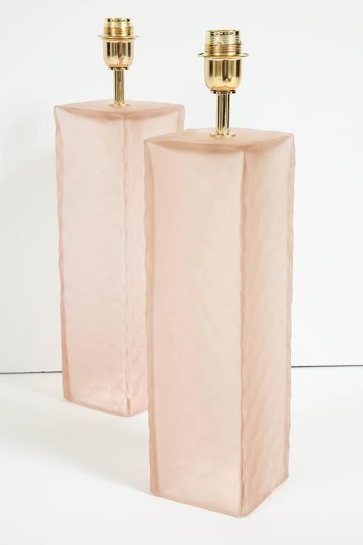 Pair of Italian Blush Pink Solid Murano Glass Textured Block Lamps 7