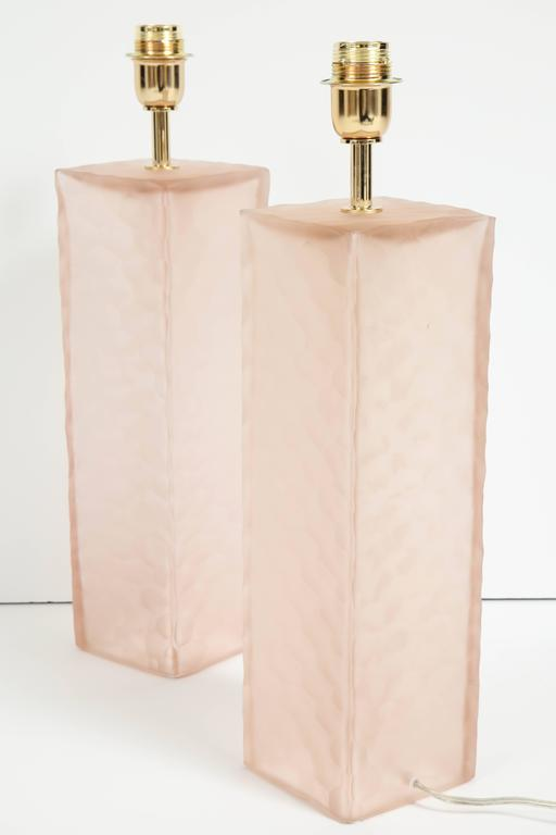 Pair of Italian Blush Pink Solid Murano Glass Textured Block Lamps 8