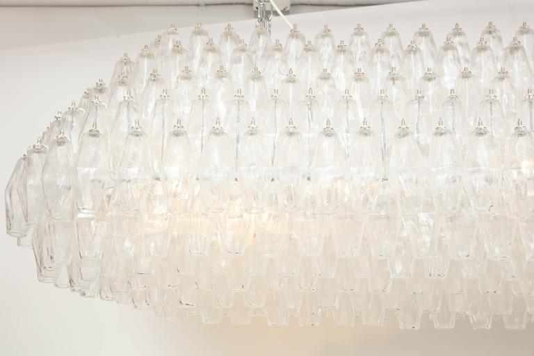 Mid-Century Modern Enormous 5 ft wide Venini Style Italian Polyhedral Clear Murano Glass Chandelier For Sale