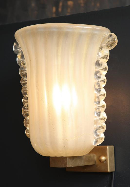Pair of Italian Ivory with Infused Gold Murano Glass and Brass Sconces 4