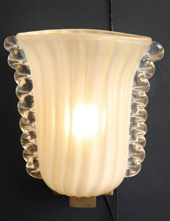 Pair of Italian Ivory with Infused Gold Murano Glass and Brass Sconces 9
