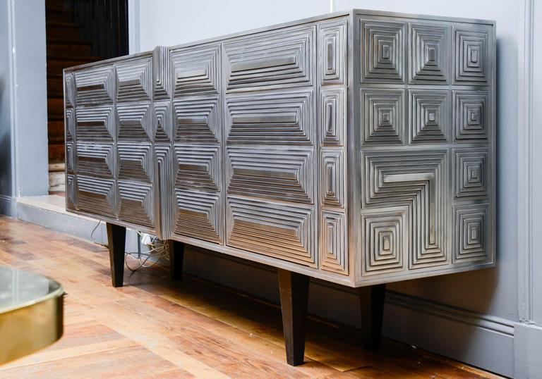 Stainless Steel Sideboard Signed by Erwan Boulloud For Sale