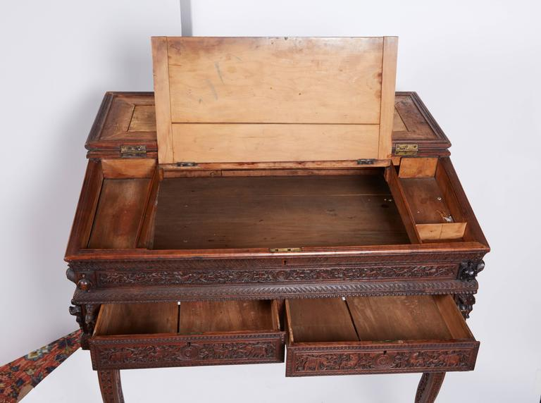 Exquisite Anglo Indian Sandalwood Carved Writing Desk Mysore, South India  In Excellent Condition For