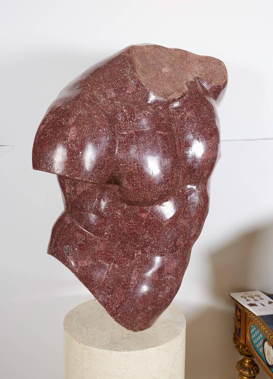 20th Century Italian Porphyry Veneered Model of a Torso, after the Antique, Anthony Redmile For Sale