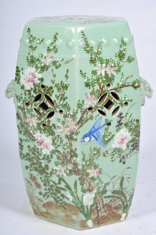 A Good Quality 19th Century Japanese Celadon Porcelain Garden Seat. Having  Typical Flower And Leaf
