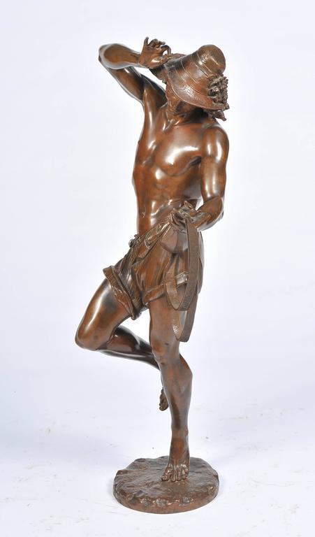 A large and impressive 19th century bronze statue of a Neapolitan dancer, playing a mandolin. Having a wonderful patina and signed; Ernest Carrier de Belleuse (French, 1824-1887) Bronze Mandolin Player.