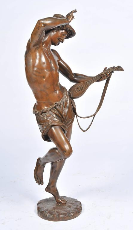 French Large 19th Century Bronze  Mandolin Player For Sale