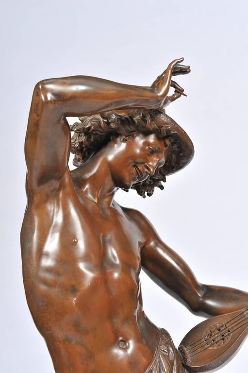 Cast Large 19th Century Bronze  Mandolin Player For Sale
