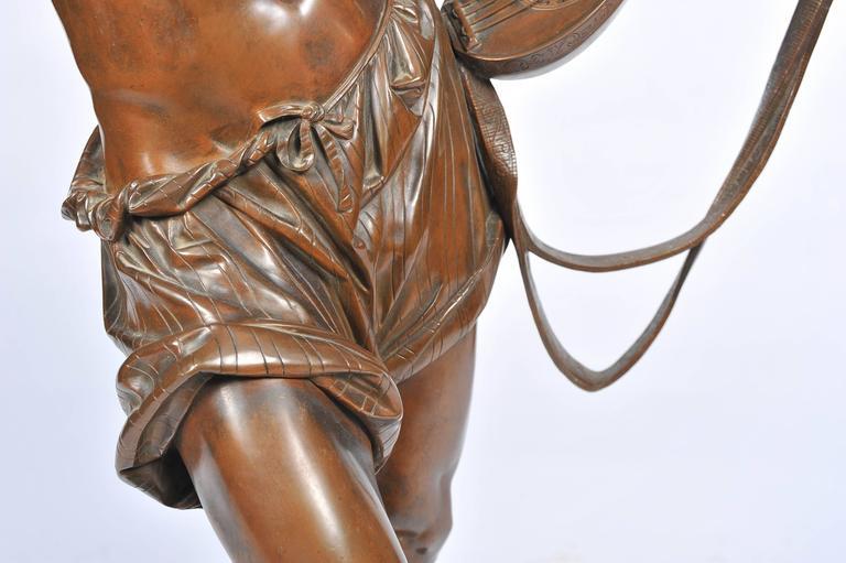 Large 19th Century Bronze  Mandolin Player For Sale 2