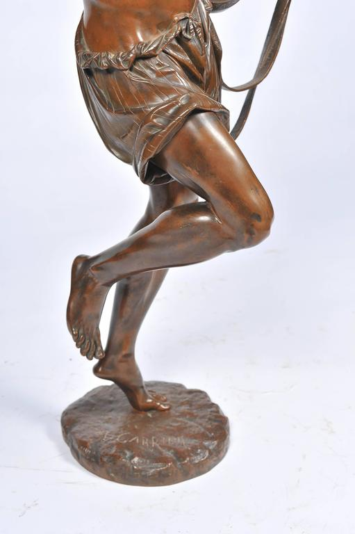Large 19th Century Bronze  Mandolin Player For Sale 3