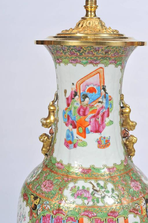 Pair of 19th Century Rose Medallion, Canton Vases or Lamps For Sale 1