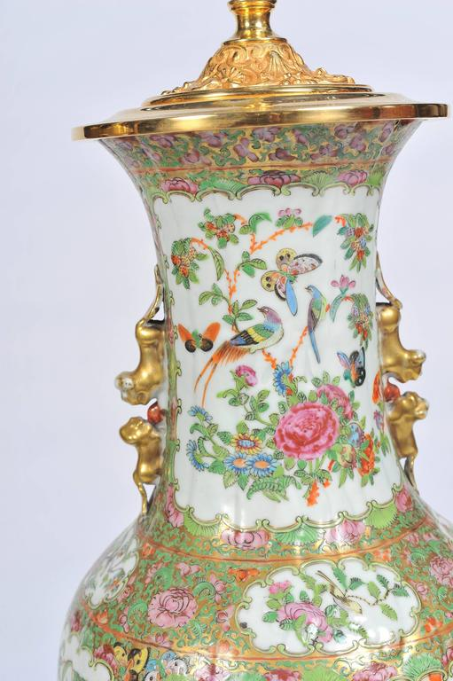 Pair of 19th Century Rose Medallion, Canton Vases or Lamps For Sale 2
