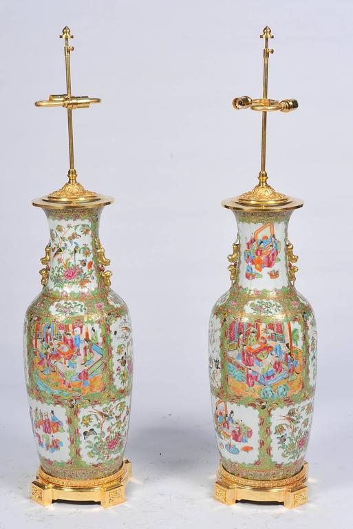 Pair of 19th Century Rose Medallion, Canton Vases or Lamps For Sale 3