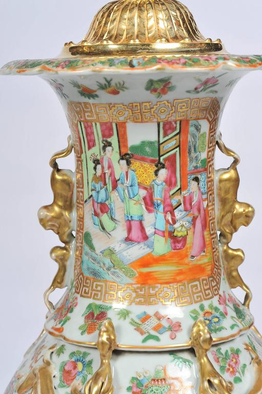 Chinese Export Large Pair of Antique Rose Medallion / Cantonese Vases / Lamps For Sale