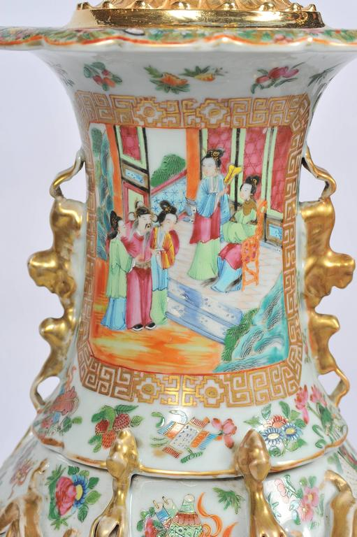 Chinese Large Pair of Antique Rose Medallion / Cantonese Vases / Lamps For Sale