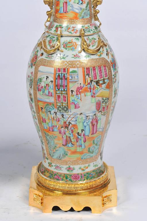 Hand-Painted Large Pair of Antique Rose Medallion / Cantonese Vases / Lamps For Sale