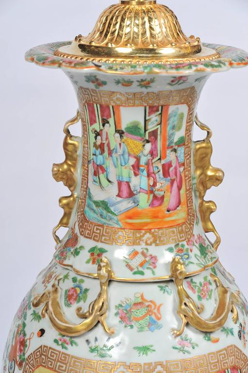 19th Century Large Pair of Antique Rose Medallion / Cantonese Vases / Lamps For Sale