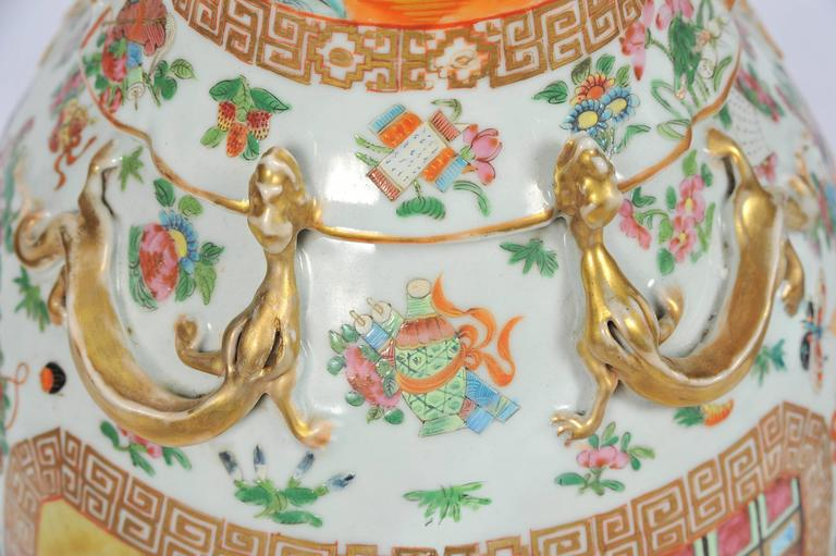 Large Pair of Antique Rose Medallion / Cantonese Vases / Lamps For Sale 2