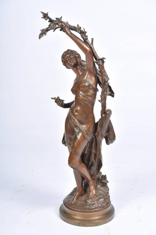 French Bronze by Math, Moreau, Girl Picking Cherries For Sale