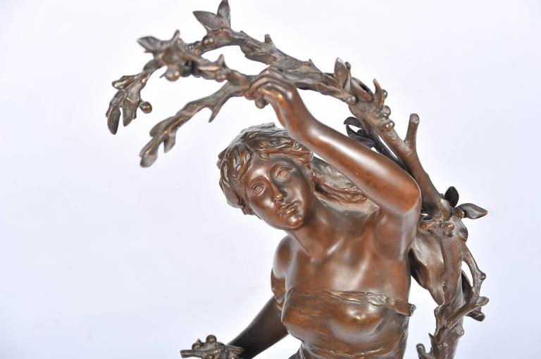 Cast Bronze by Math, Moreau, Girl Picking Cherries For Sale