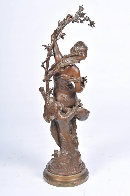 Bronze by Math, Moreau, Girl Picking Cherries In Good Condition For Sale In Brighton, Sussex