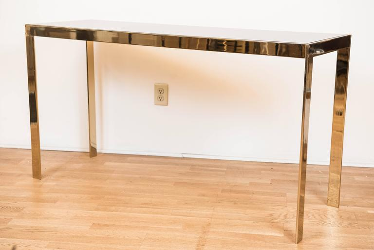 """Late 20th Century Vintage American """"Brass"""" Parsons Style Console Table For Sale"""
