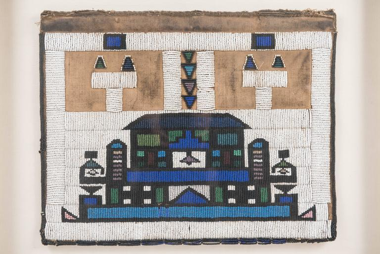 Vintage African Beadwork Tapestry Remnant in Shadow Box 2