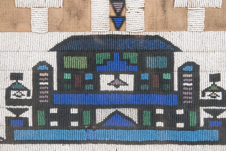 Vintage African Beadwork Tapestry Remnant in Shadow Box 3