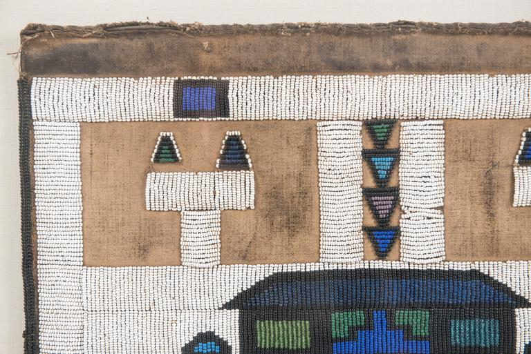 Vintage African Beadwork Tapestry Remnant in Shadow Box 4