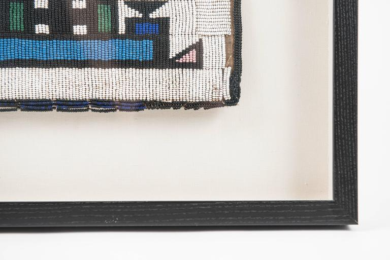 Vintage African Beadwork Tapestry Remnant in Shadow Box 5