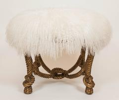Napoleon III Style Stool in Gilt Finish with Lambs Wool Upholstery