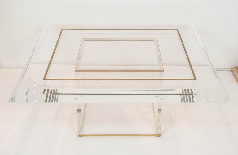 American Large Custom Acrylic Square Coffee Table with Brass Details For Sale
