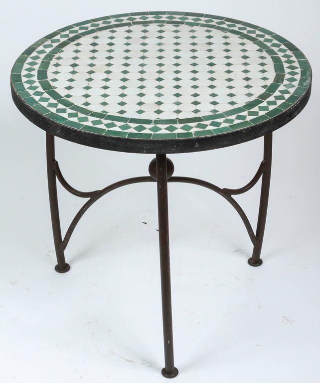 Moroccan Green Mosaic Tile Table On Low Iron Base At 1stdibs