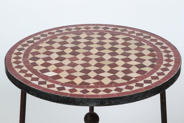 Moroccan Mosaic Side Table On Low Iron Base 3