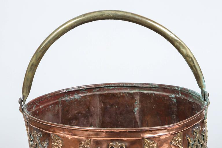 Large Moroccan Moorish polished brass and copper planter, handcrafted and chiseled with Fine Moorish designs and foliate designs.