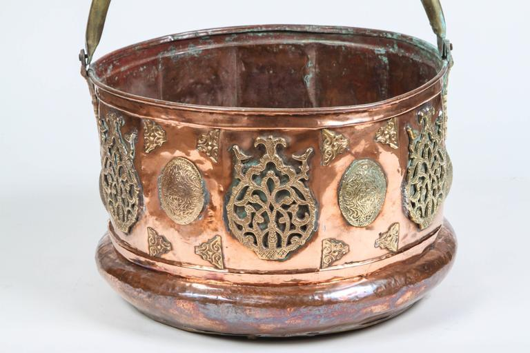 Hand-Carved Large Moroccan Moorish Copper and Brass Planter For Sale