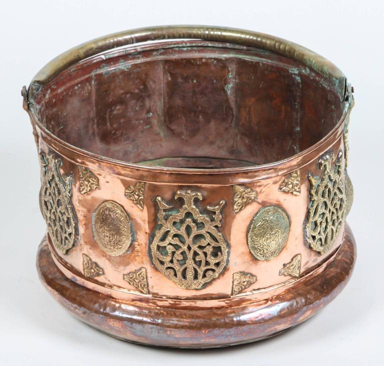 Large Moroccan Moorish Copper and Brass Planter In Good Condition For Sale In Los Angeles, CA