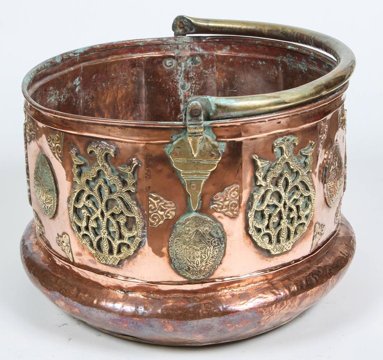 Large Moroccan Moorish Copper and Brass Planter For Sale 1
